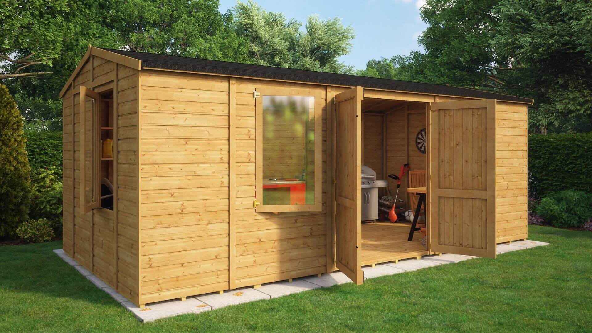 traditional windowed grandmaster workshop shed project timber