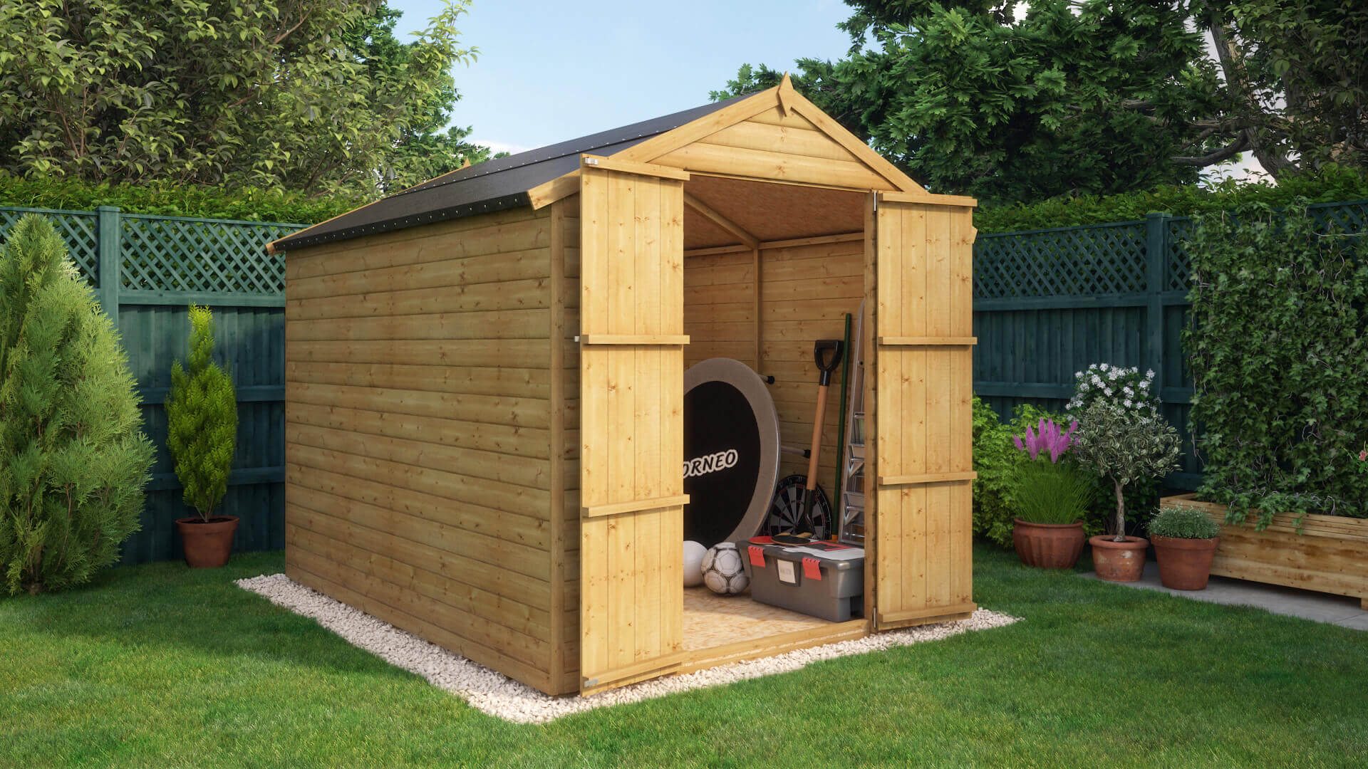 project timber 8x6 loglap windowless wooden garden shed