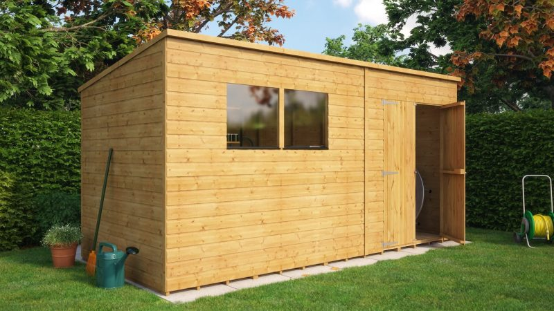 10x6 pent offset door shed easy and strong tg construction - Garden Sheds 10 X 6