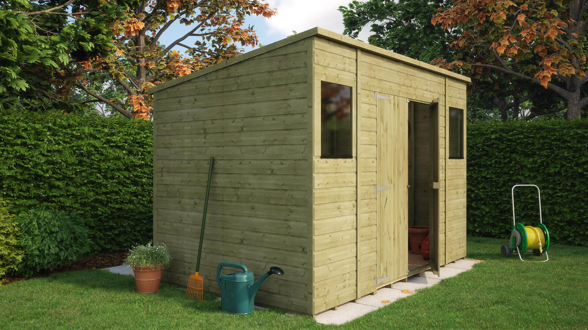 Front View; Front View; Side View ... & Pressure Treated Pent Central Door Garden Shed | Project Timber
