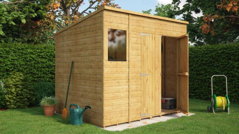 pent central door garden shed