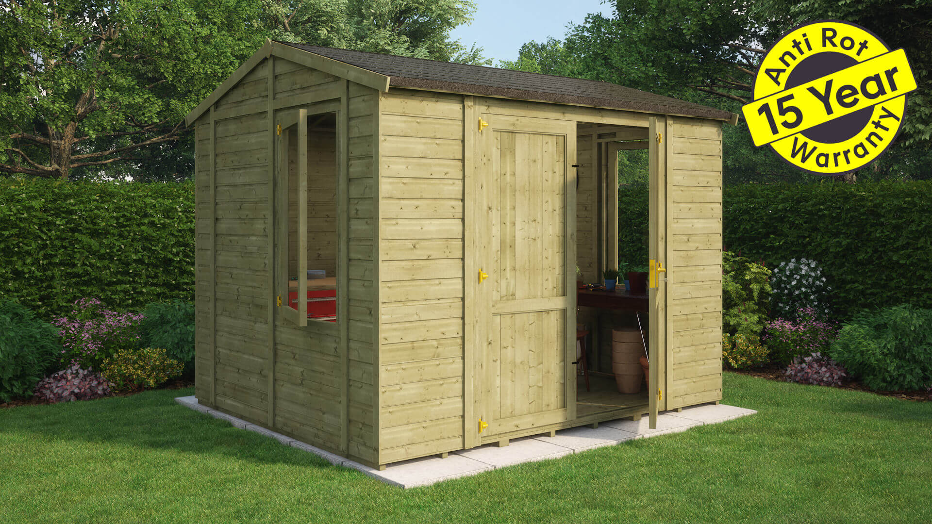 Grandmaster 10x8 central door workshop tg roof and floor pressure treated 15 year warranty