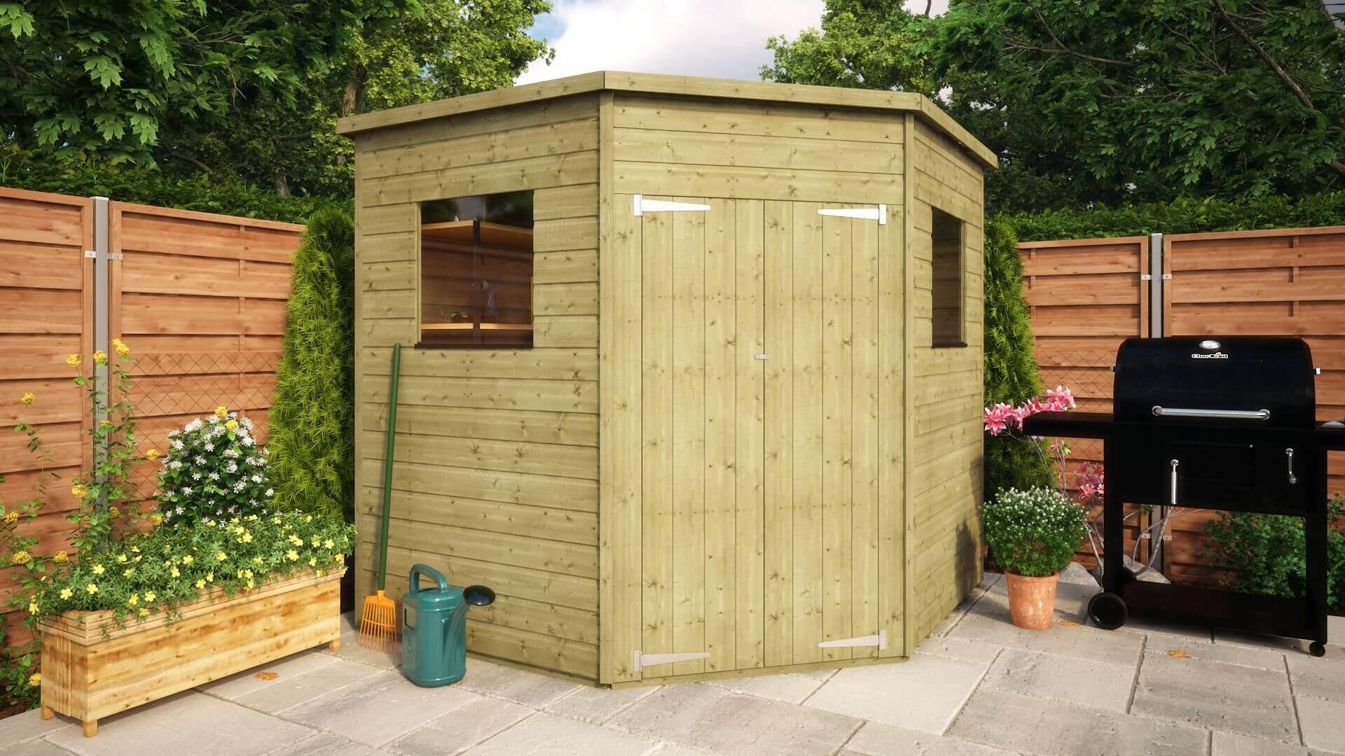 pressure treated corner windowed shed project timber - Corner Garden Sheds 7x7