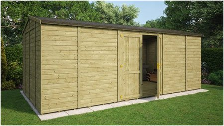 Pressure Treated Traditional Windowless Grandmaster Workshop Shed