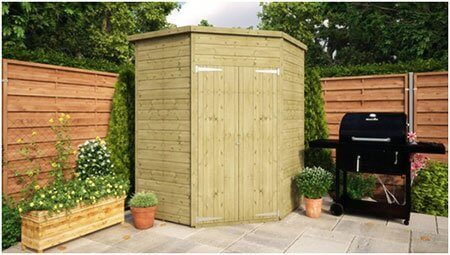 Pressure Treated Corner Windowless Shed