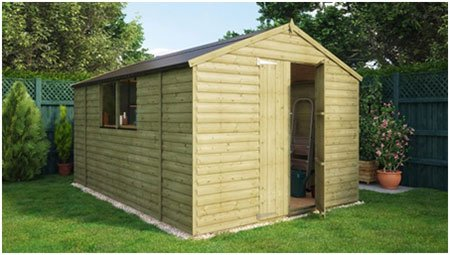 Pressure Treated Loglap Windowed Garden Shed