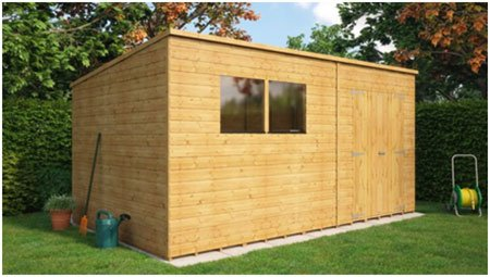 Pressure Treated Pent Offset Door Garden Shed