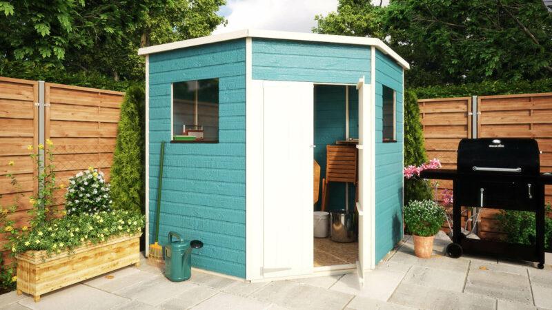 pressure treated corner windowed shed garden sheds 7x7 - Corner Garden Sheds 7x7