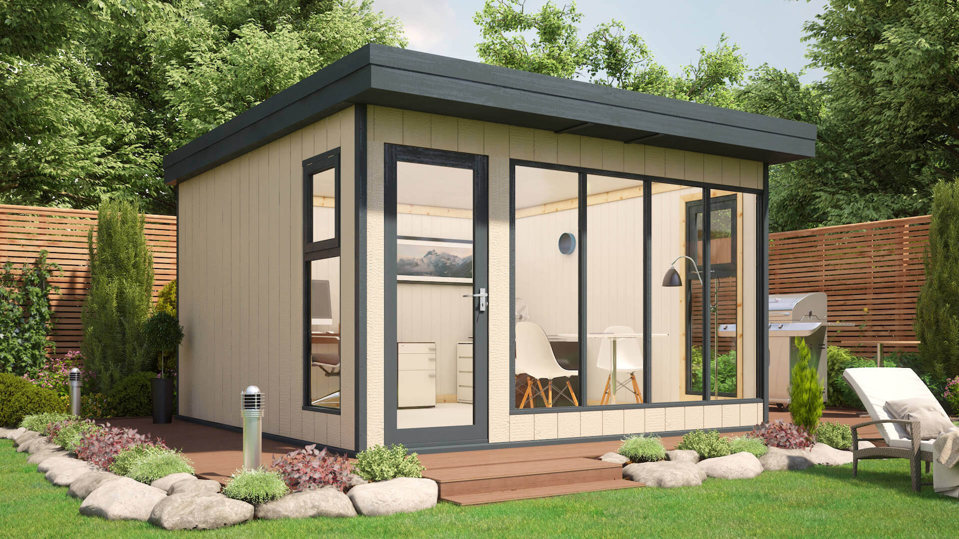 Garden Room 12x12 Composite Cladding Tongue and Groove Roof and Floor Windowed 02
