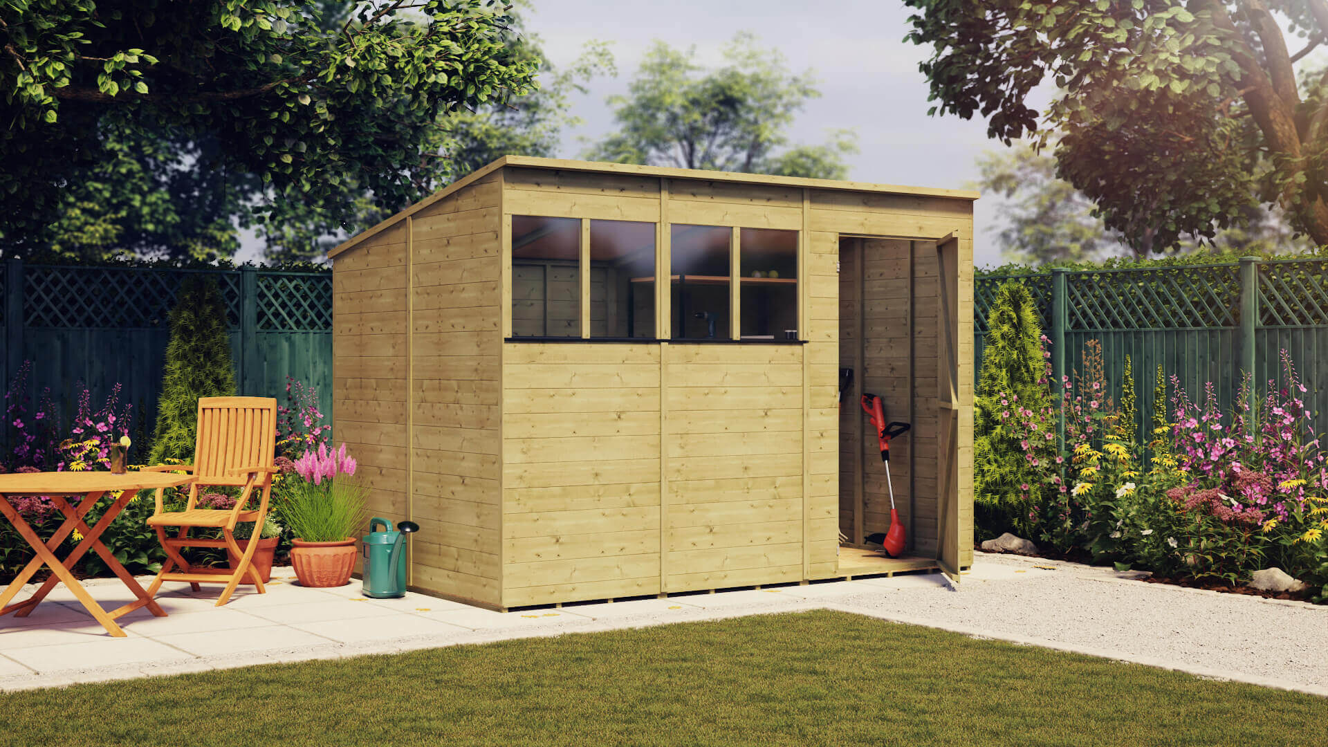 The Project Timber Pressure Treated Value Windowed Pent Shed Range
