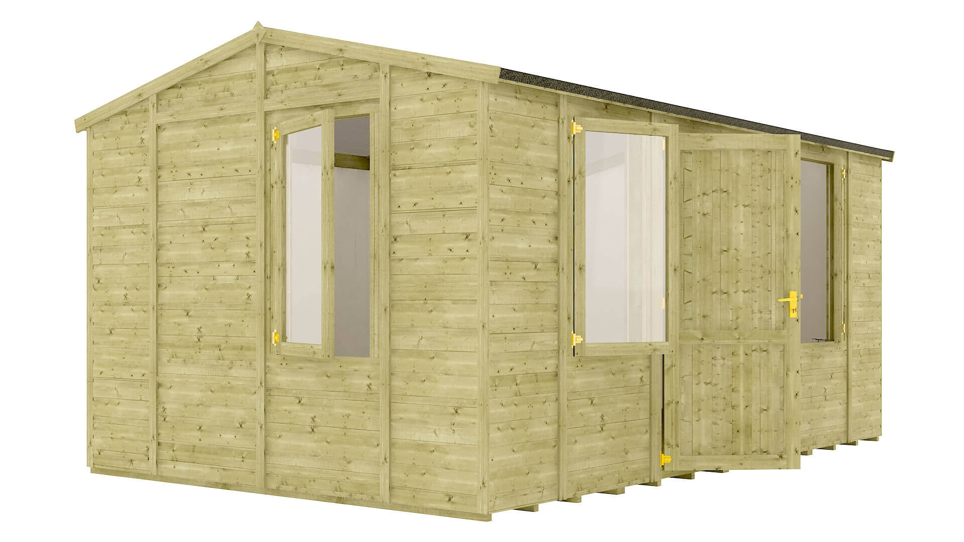 Pressure Treated Traditional Windowed Grandmaster Insulated Workshop Shed