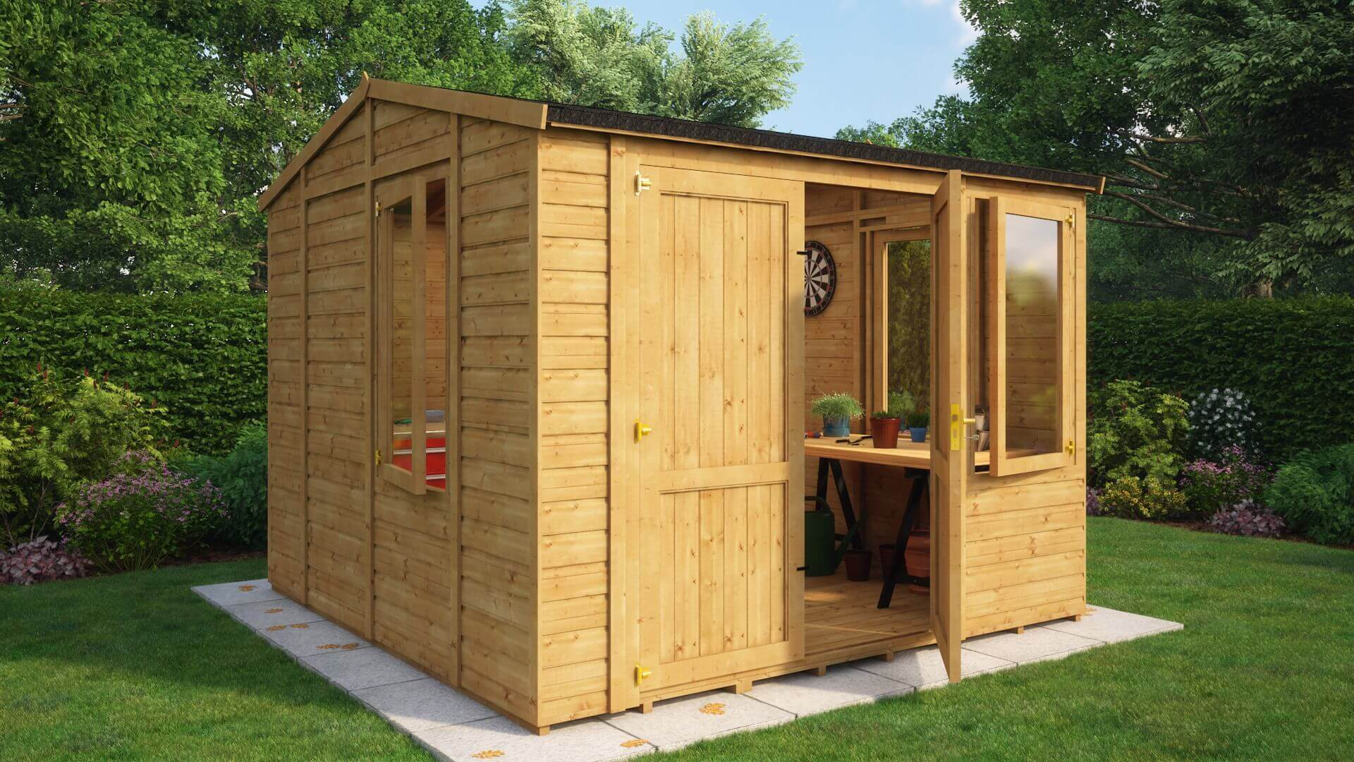 Traditional Windowed Offset Grandmaster Workshop Shed