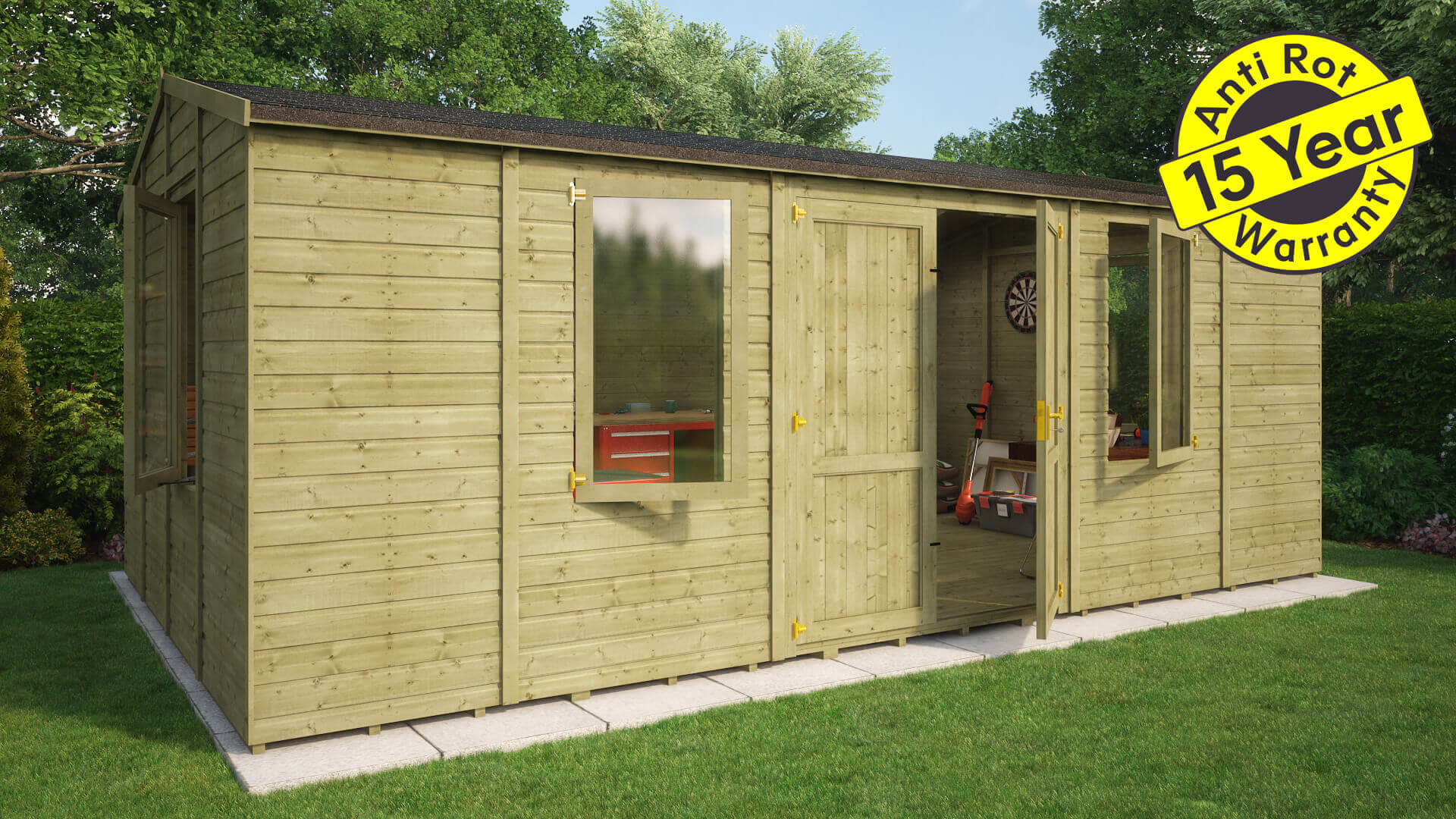 Grandmaster 20x12 central door workshop tg roof and floor pressure treated 15 year warranty