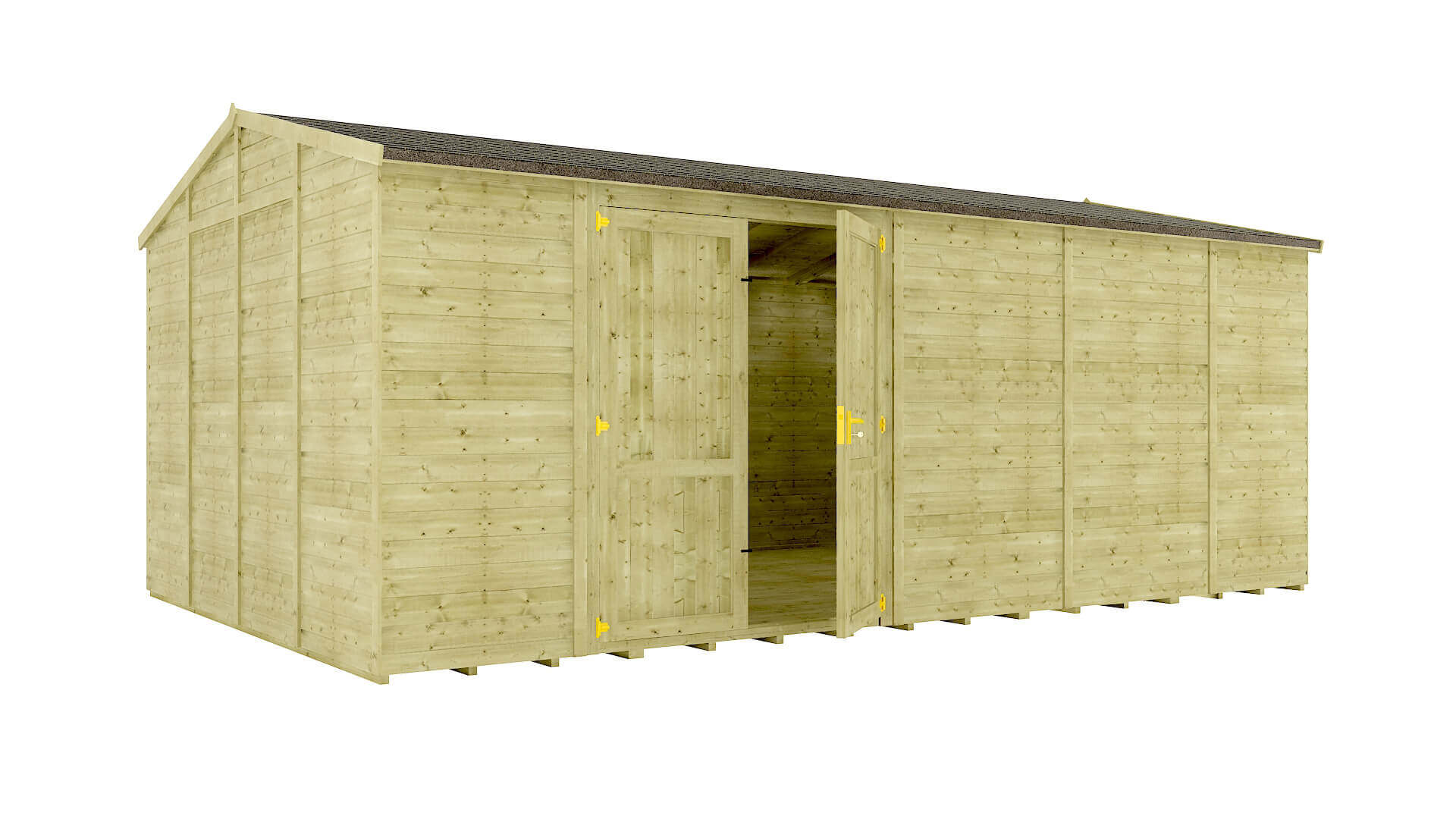 Pressure Treated Traditional Windowless Offset Grandmaster Workshop Shed