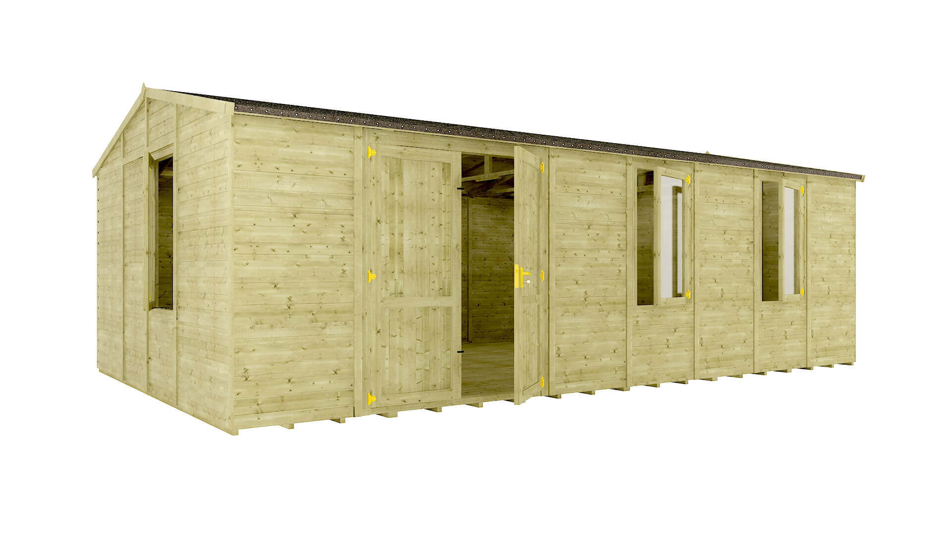 Pressure Treated Traditional Windowed Offset Grandmaster Workshop Shed