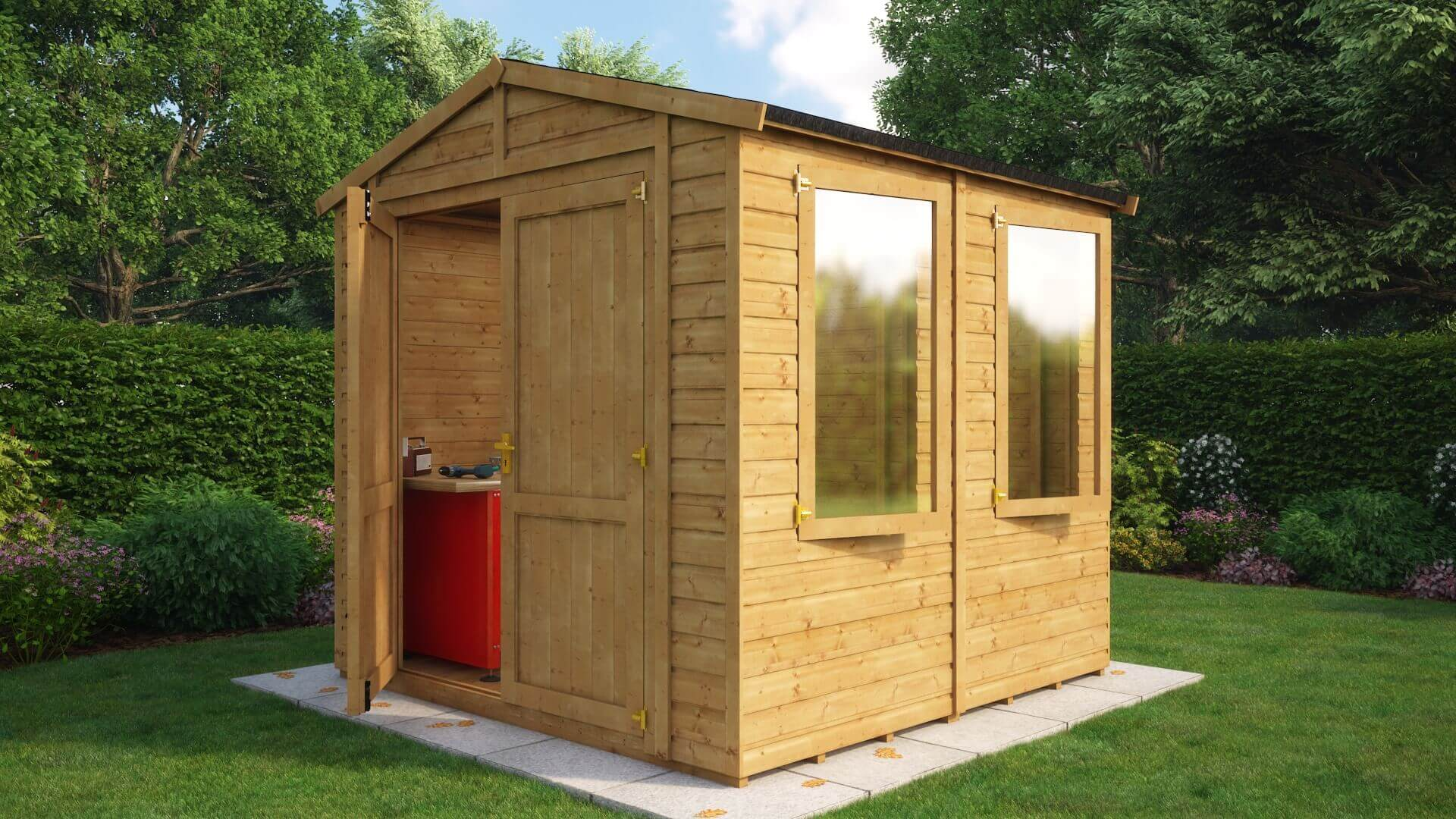 Traditional Windowed Apex Grandmaster Workshop Shed