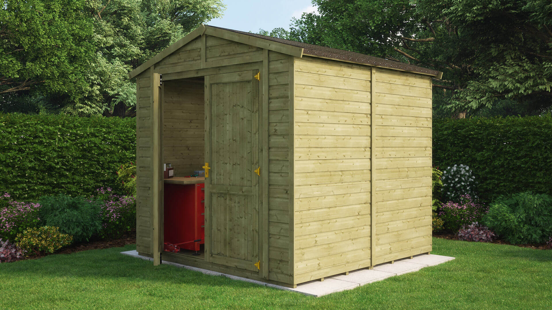 Pressure Treated Traditional Windowless Apex Grandmaster Workshop Shed