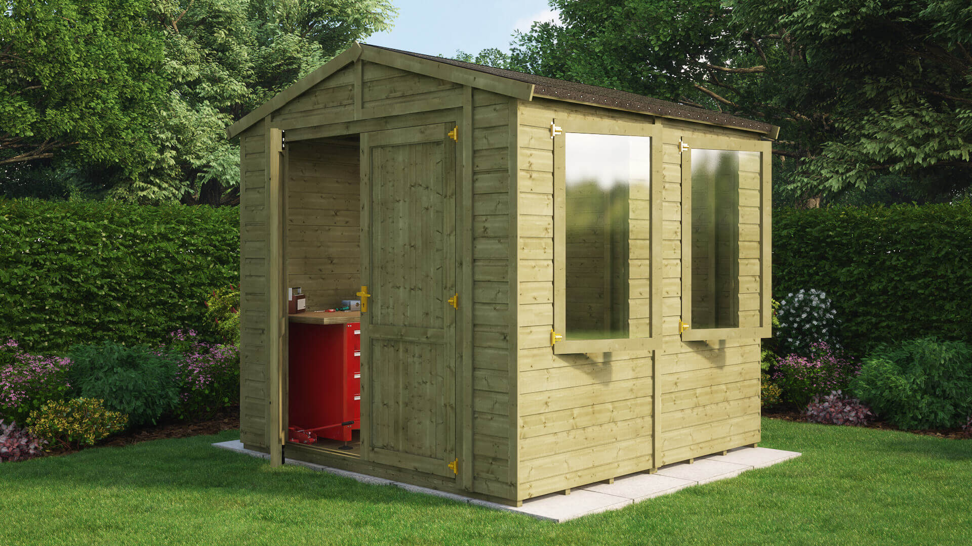 Pressure Treated Traditional Windowed Apex Grandmaster Workshop Shed