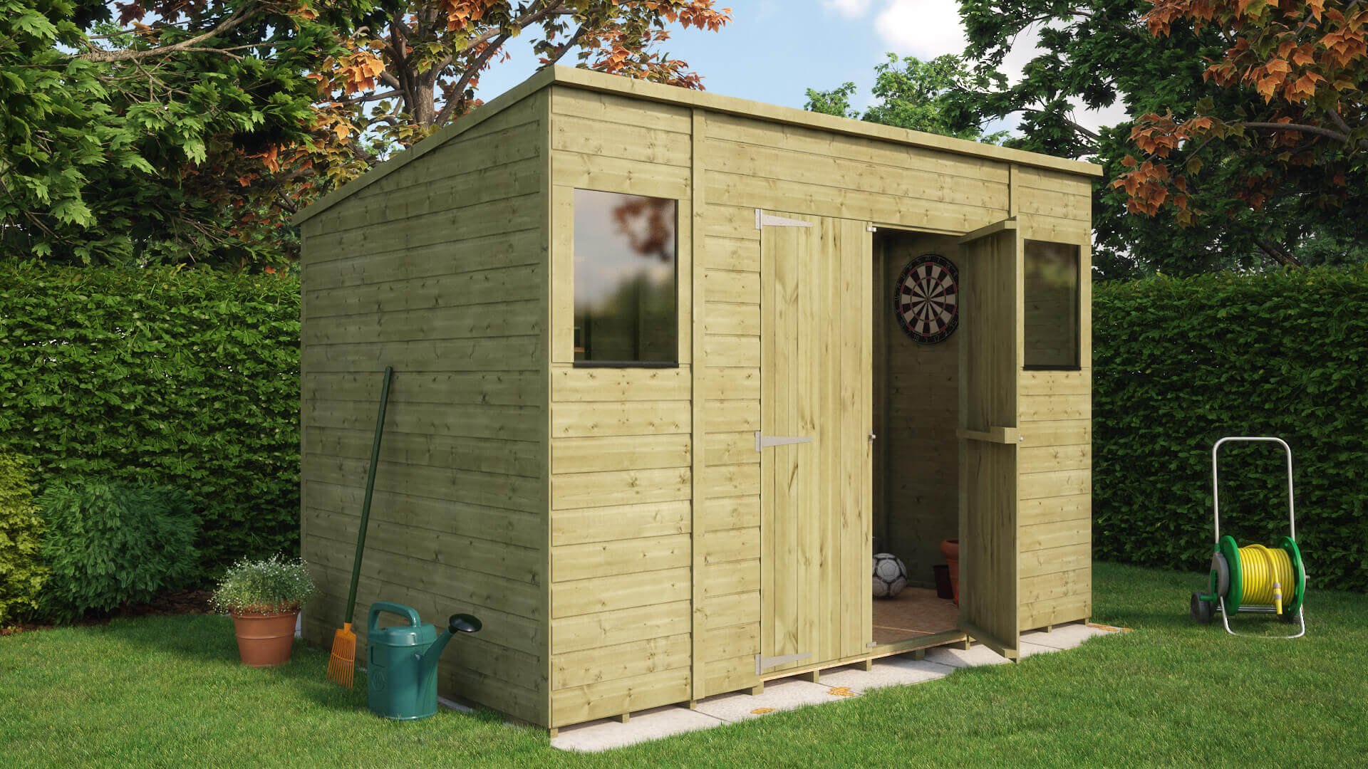 Pressure Treated Pent Central Door Garden Shed