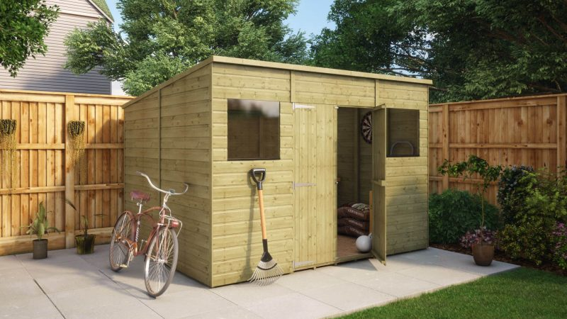10ft x 8ft pressure treated modular pent central door garden shed