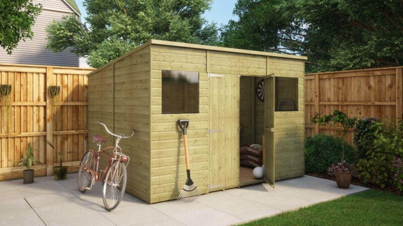10ft x 8ft pressure treated modular pent central door garden shed