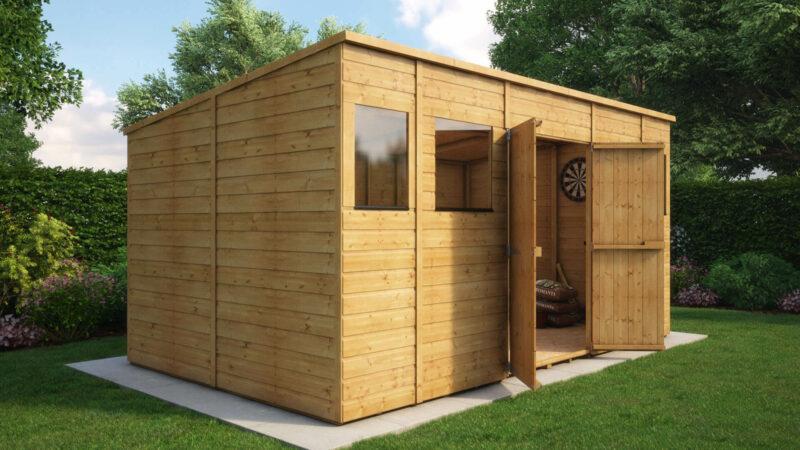 14ft x 8ft modular pent central door garden shed