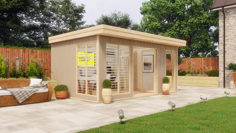 16ft x 10ft evolution central door with partition wall garden office shed
