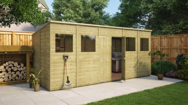 Pressure Treated Hobbyist Pent Central Door Garden Shed Project Timber