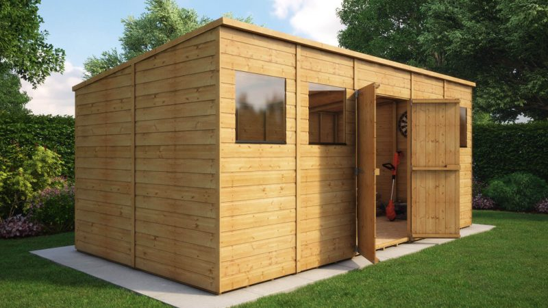 pent wooden garden shed