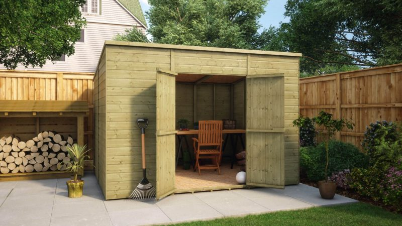 10ft x 8ft pressure treated modular pent central door windowless garden shed