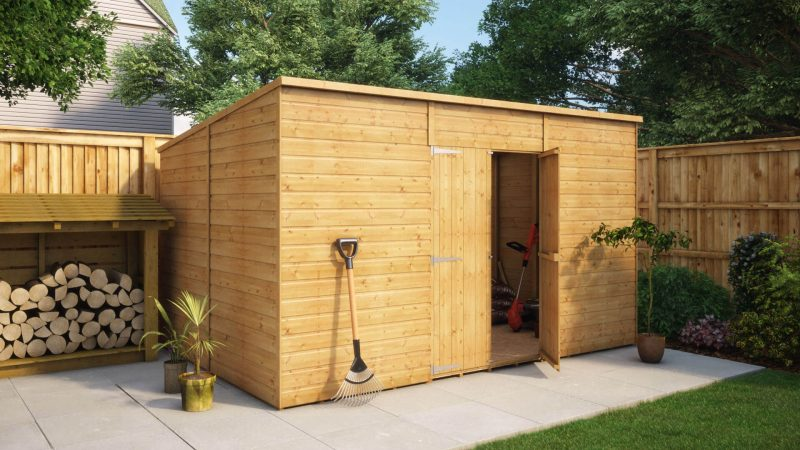 12ft x 8ft modular pent central door windowless garden shed