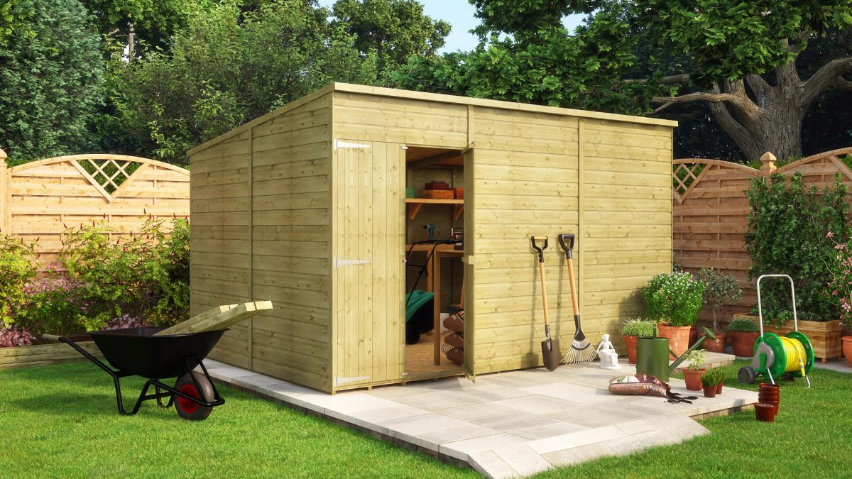 12 x 8 pressure treated hobbyist pent offset windowless wooden garden shed