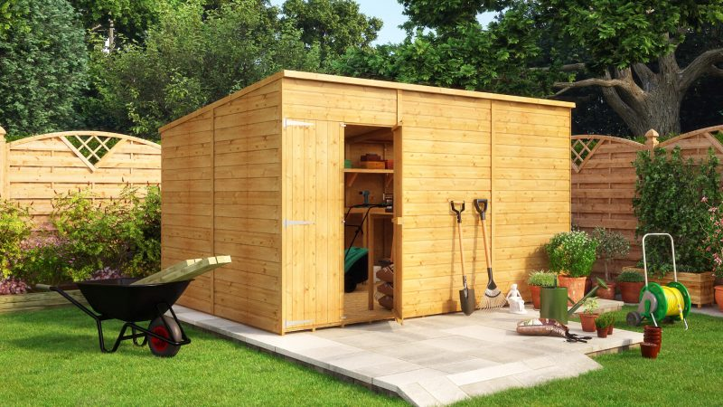 12ft x 8ft modular pent offset door windowless garden shed