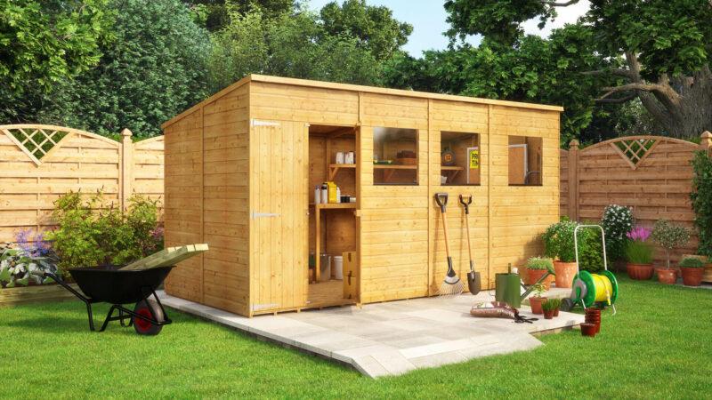 14 x 6 hobbyist pent offset wooden garden shed