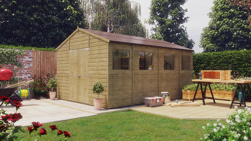 14ft x 10ft pressure treated modular hobbyist apex shed