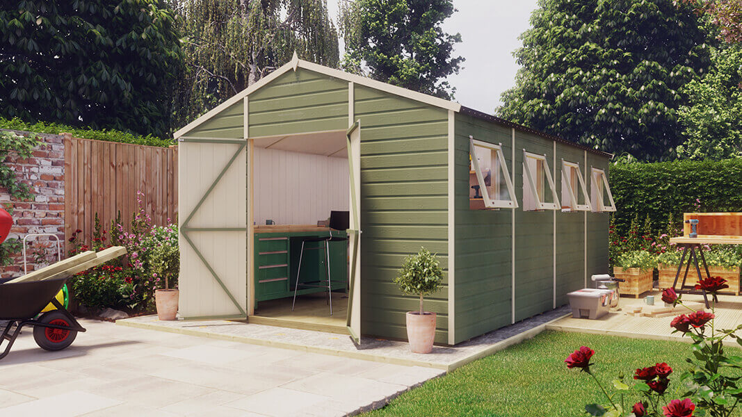 16ft x 10ft pressure treated modular hobbyist apex shed