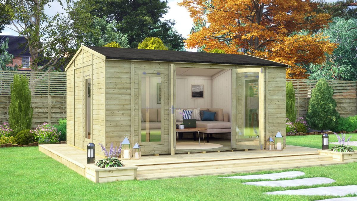16ft x 12ft pressure treated diplomat long window grandmaster summerhouse