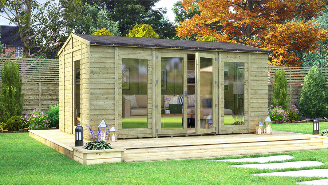 16ft x 10ft pressure treated diplomat long window grandmaster summerhouse shed