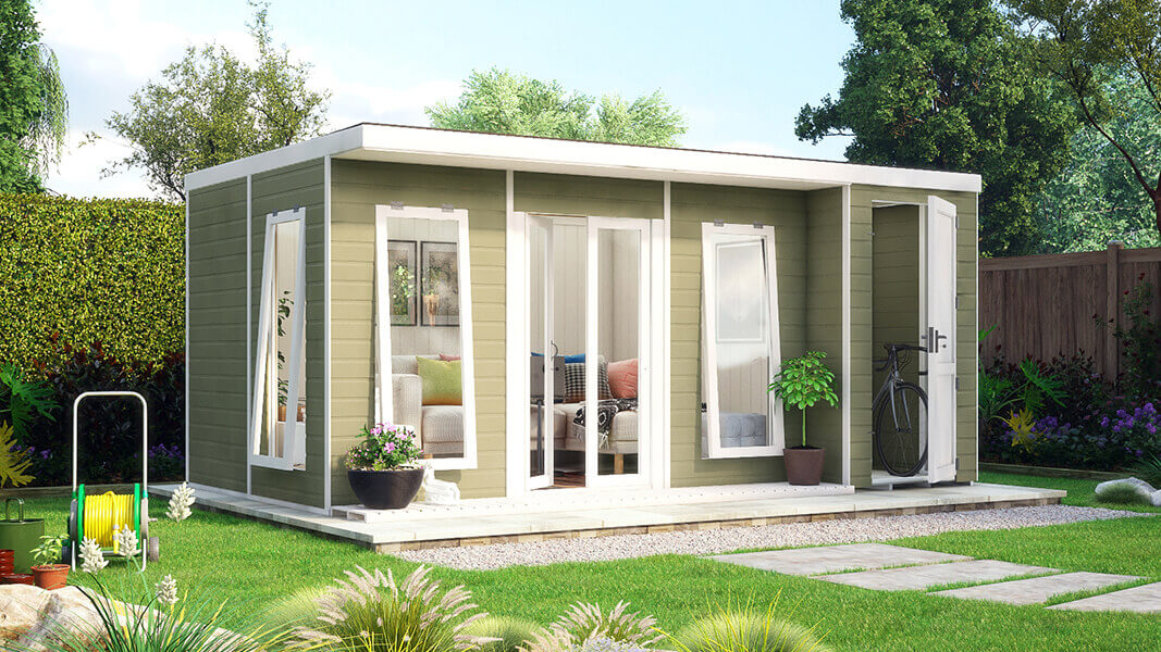 16ft x 10ft pressure treated lounge garden room with storage