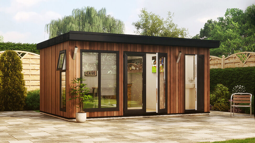 16ft x 10ft evolution cedar with partition wall garden office shed