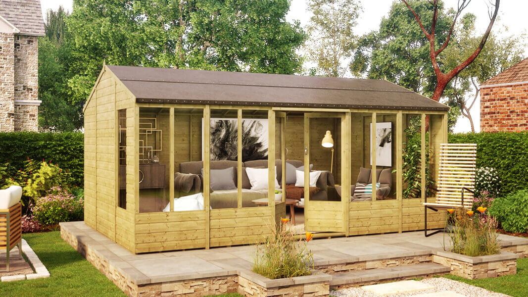 16ft x 10ft hobbyist summerhouse windowed shed